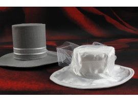 Dragées Mariage - Dragées et chapeaux écrus et gris pour mariage