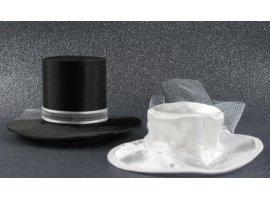 Dragées Mariage - Dragees chocolat et chapeaux blancs et noirs de mariage