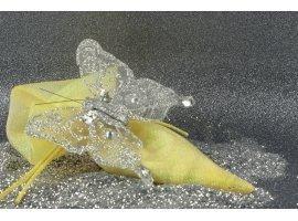 Oriental - Pochon à dragées doré et papillon argenté