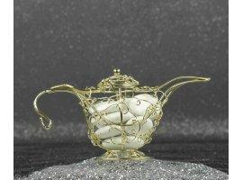 Oriental - Theiere doree arrondie orientale