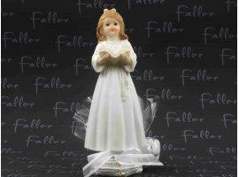 Dragées Communion - Grande communiante fille avec aube et chapelet