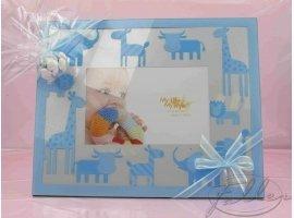 Dragées Baptême - Pochon dragees garcon avec grand cadre photo animaux bleu