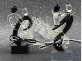 Dragées Mariage - Couple de mariés en verre noir & transparent avec dragées
