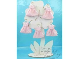 Dragées Baptême - Dragees bapteme dans robe rose a pois blanc