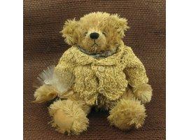 Dragées Baptême - Grande peluche ours ecrue avec pochon dragees