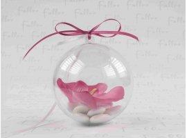 Dragées Mariage - Dragees mariage dans boule plexi avec orchidee fuchsia