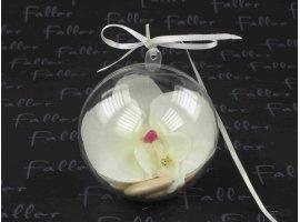 Dragées Mariage - Dragees mariage dans boule avec orchidee ecrue