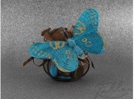 Oriental - Dragées dans une bourse marron et papillon turquoise