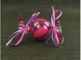 Dragées Baptême - Dragees bapteme dans bonbon plexi fuchsia