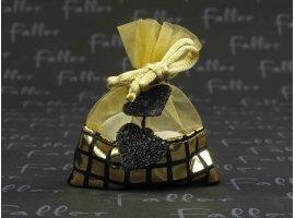 Dragées Mariage - Bourse à dragées or avec déco coeur noir