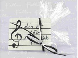 Dragées Mariage - Porte-nom musique noir et blanc avec pochon dragées