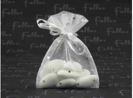 Dragées Mariage - Dragees mariage dans sac en organza blanc avec strass