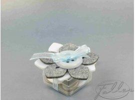 Dragées Baptême - Contenant à dragées en plexi et fleur feutrine blanc-gris