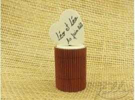 Dragées Baptême - Dragées dans une boite bambou (marron)