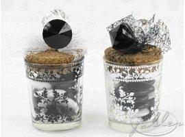 Dragées Mariage - Pot arabesque noir ou blanc avec dragees