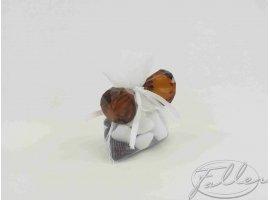 Dragées Mariage - Petits diamants marron avec dragées de mariage
