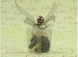 Dragées Baptême - Boite plexi cadeau avec dragée écru et marron