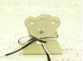Dragées Baptême - Porte bougie ours ecru avec boite a dragees faller