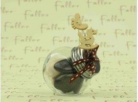 Dragées Baptême - Bocal à dragées avec déco écrue-marron