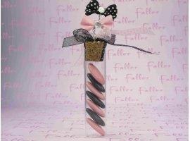 Dragées Baptême - Dragées, éprouvette et noeuds papillons noirs et roses