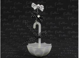 Dragées Mariage - Parapluie de mariage deco noir et blanche avec dragees