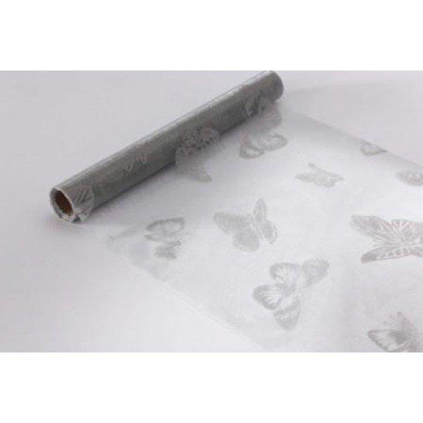 Chemin de table en organza motif papillon gris for Chemin de table personnalise