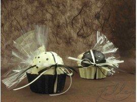 Dragées Baptême - Bougie cupcake chocolat avec dragées