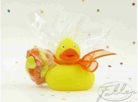 Dragées Baptême - Canard de bain jaune avec dragées de baptême