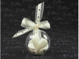 Dragées Mariage - Coeur tissu ecru sur boule plexi avec dragees mariage