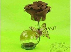 Dragées Mariage - Rose et papillon marron de mariage