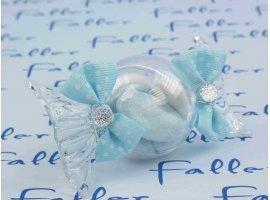 Dragées Baptême - Dragees bapteme dans bonbon plexi avec noeuds bleu