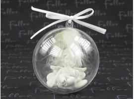 Dragées Communion - Boule de communion avec ange et plume blanche