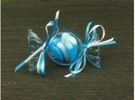 Dragées Baptême - Bonbon plexi bleu avec dragees bapteme