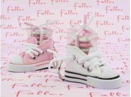 Dragées Baptême - Basket rose et blanche avec boite dragees
