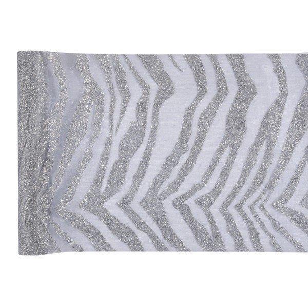 Chemin de table zebra argent for Chemin de table personnalise