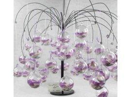 Dragées Mariage - Orchidee blanche dans boule plexi avec dragees mariage