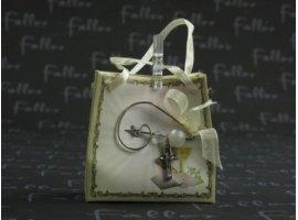 Dragées Communion - Dragees communion dans sacoche ecru avec broche