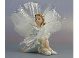 Dragées Baptême - Elfe blanche de bapteme avec dragees