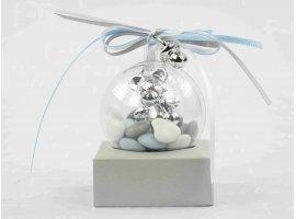 Dragées Baptême - Dragees bapteme garcon dans boule avec bijoux argentes