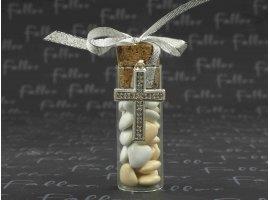 Dragées Communion - Dragees communion dans  eprouvette avec croix strass