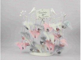Dragées Baptême - Dragees bapteme fille theme  gris avec aile d ange