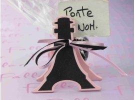 Dragées Baptême - Tour Eiffel porte-carte avec  dragées roses & noires