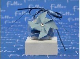 Dragées Baptême - Moulins en papier et dragees  de bapteme tons bleu