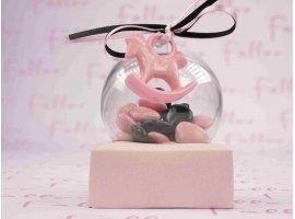 Dragées Baptême - Dragees fille roses & noires  dans boule plexi avec cheval