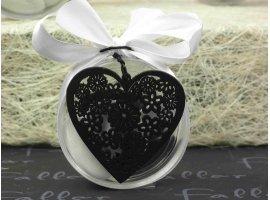 Dragées Mariage - Boite à dragée ronde avec coeur en bois noir