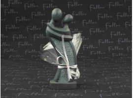 Dragées Mariage - Statue de mariés grise avec pochon dragées