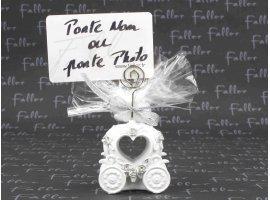 Dragées Mariage - Grand carosse blanc avec porte photo (avec dragees)