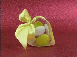 Dragées Mariage - Dragées et coeur plexi mariage (ruban citron)