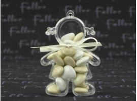 Dragées Baptême - Dragees coeur ecru et blanc dans poupee plexi fille