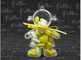Dragées Baptême - Dragées baptême jaune dans poupée plexi fille